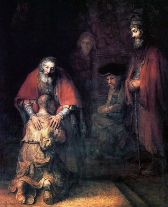 The Father shows merciful love to the Prodigal Son